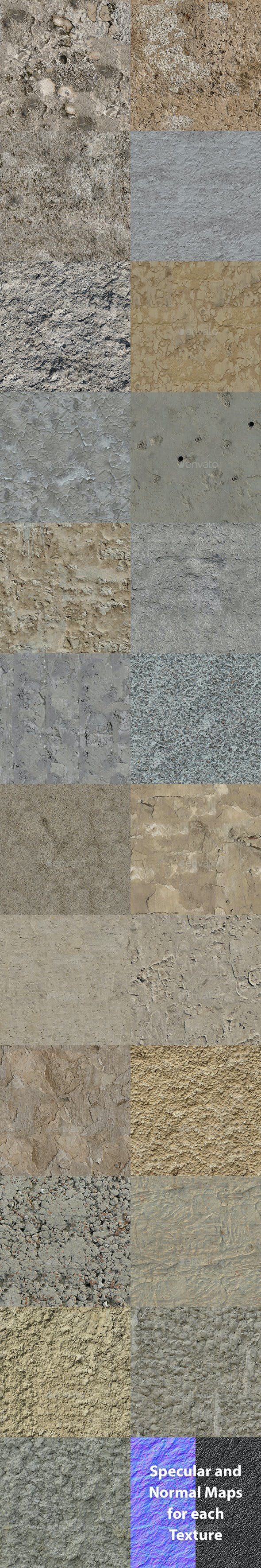 Set of 23 Seamless Rough Concrete Textures Volume 1 - 3DOcean Item for Sale