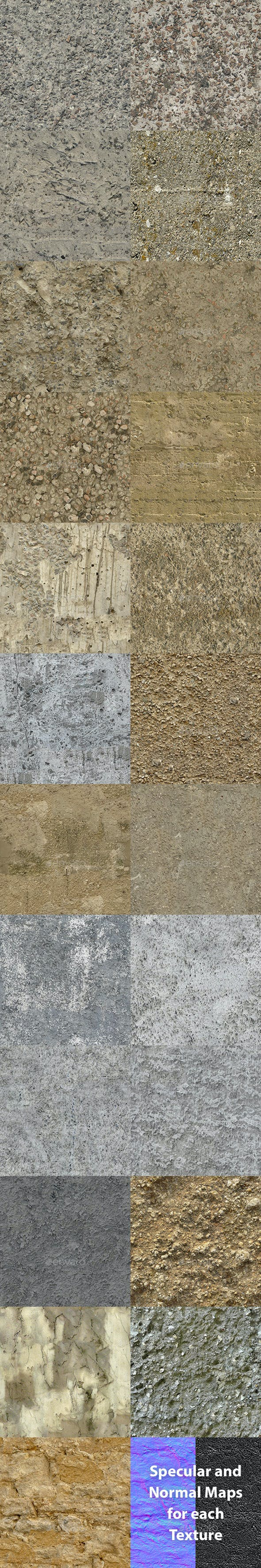Set of 23 Seamless Rough Concrete Textures Volume 2 - 3DOcean Item for Sale