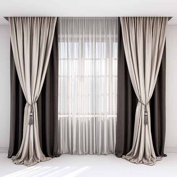 rown and beige curtains, Roman blind and window