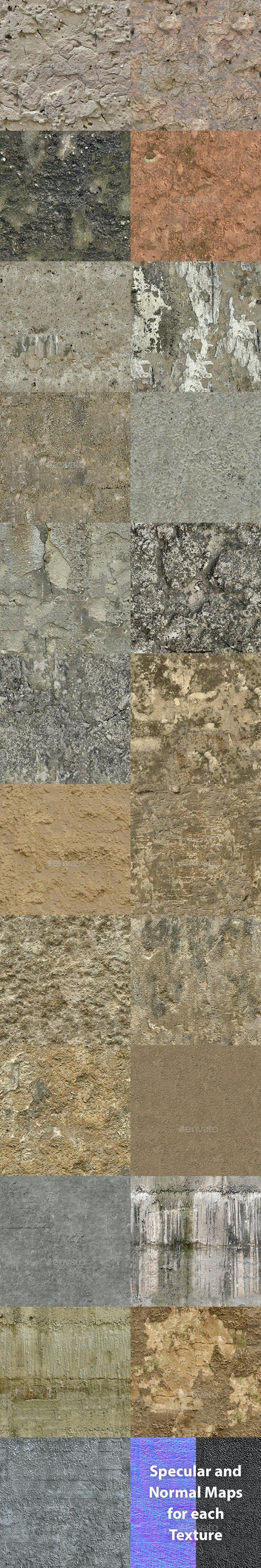 Set of 23 Seamless Rough Concrete Textures Volume 3 - 3DOcean Item for Sale