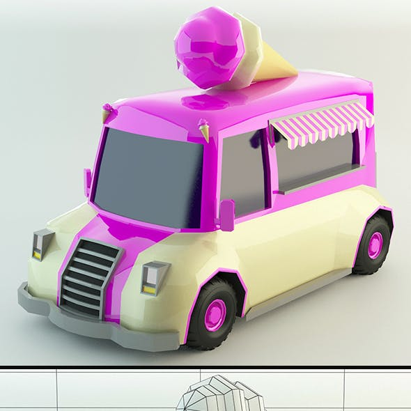 Low Poly Ice-Cream Van