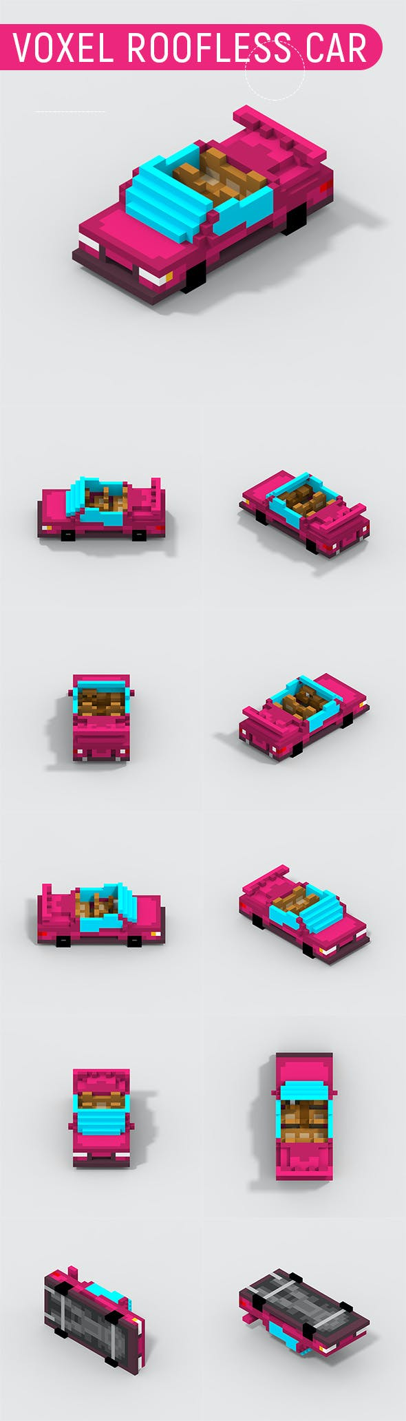 Voxel Roofless Car - 3DOcean Item for Sale