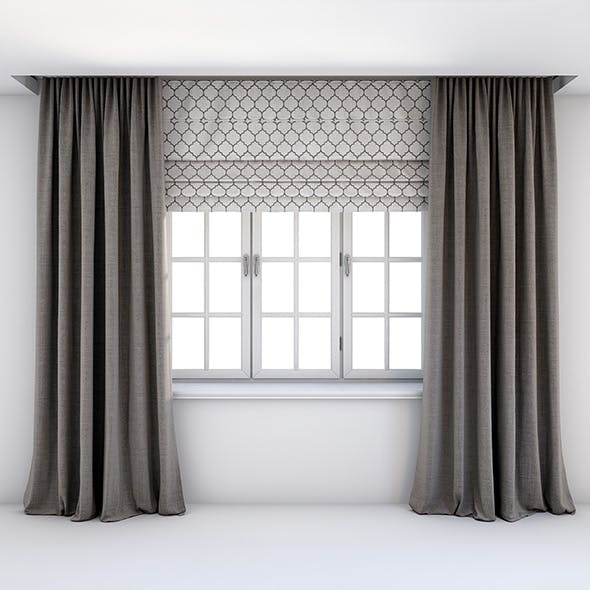 Straight grey-brown curtains Roman blind
