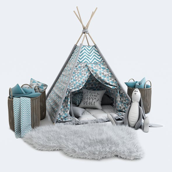 Decorative set for children -a teepee with a mattress, pillows, fur rug, baskets, soft toy hare