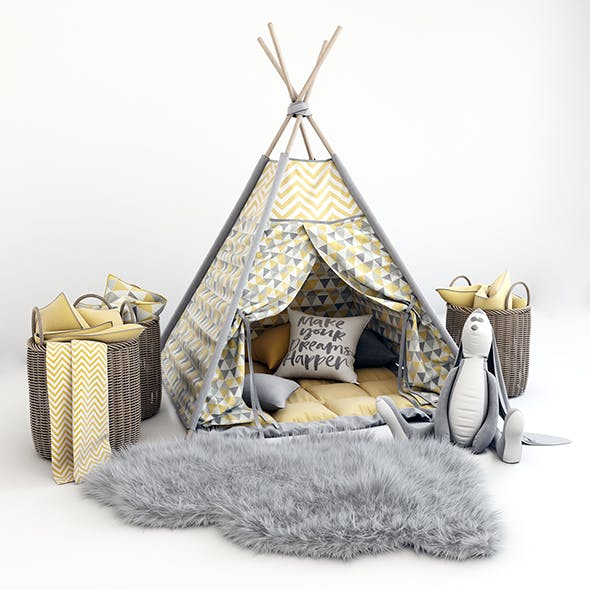Decorative set for children -a teepee with a mattress, pillows, fur rug, baskets, a soft toy hare