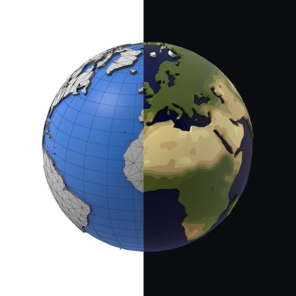 Earth low poly simple design cartoon
