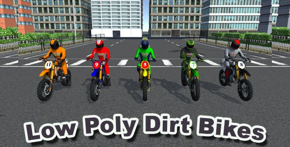5 Low Poly Dirt Bike With Rider - 3DOcean Item for Sale