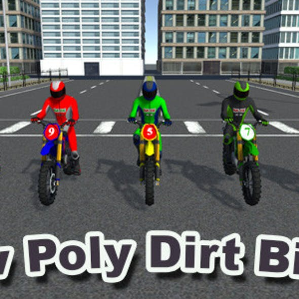 5 Low Poly Dirt Bike With Rider