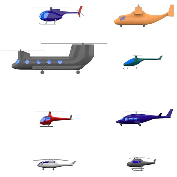 Low Poly Cartoon Helicopters Pack