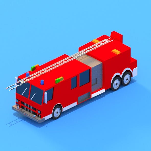 low poly Civil Protection Truck
