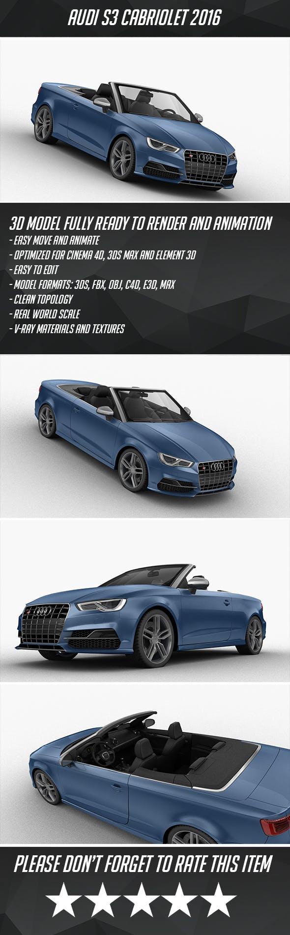 Audi S3 Cabriolet 2016 - 3DOcean Item for Sale