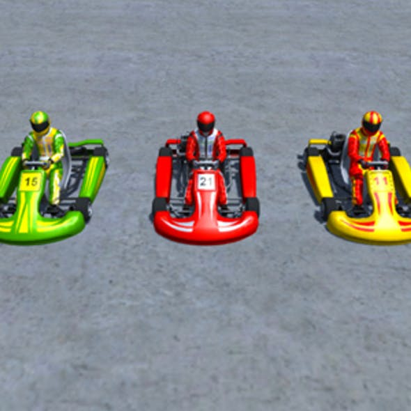 5 Low Poly Karts With Player Pack - 1