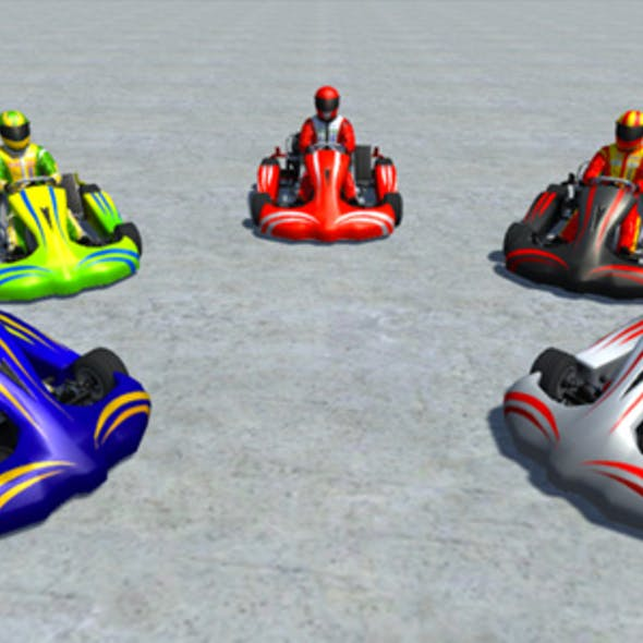 5 Low Poly Karts With Player Pack - 2