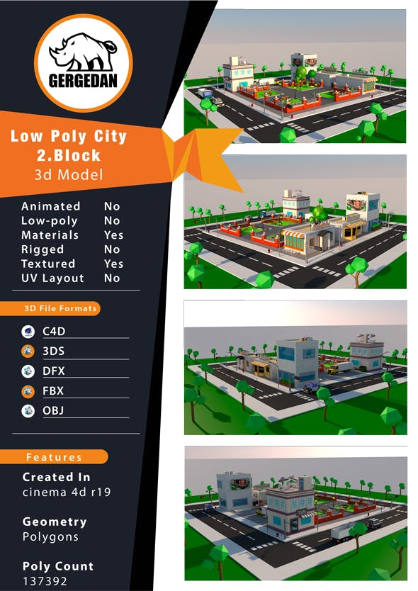 Low Poly City 2.Block - 3DOcean Item for Sale