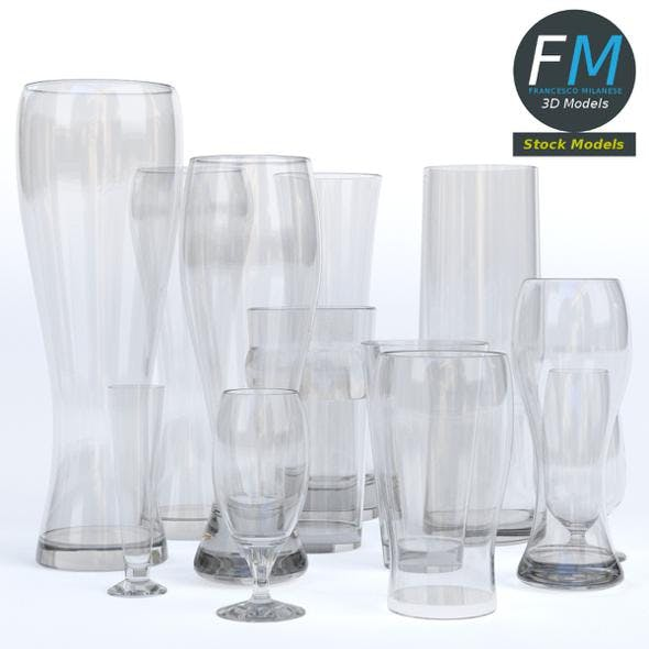 Empty beer glasses - 3DOcean Item for Sale