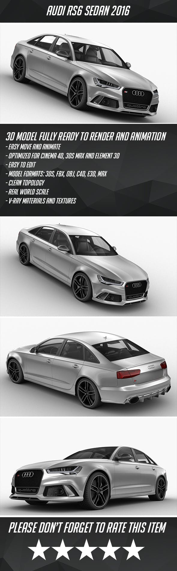 Audi RS6 Sedan 2016 - 3DOcean Item for Sale