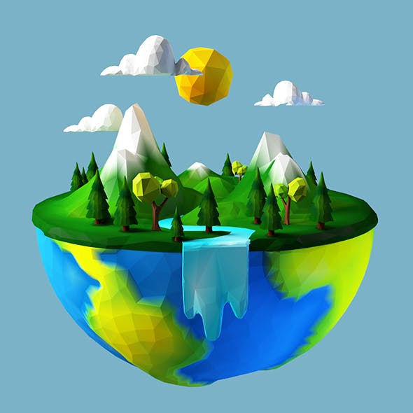 Mother earth day low-poly - 3DOcean Item for Sale