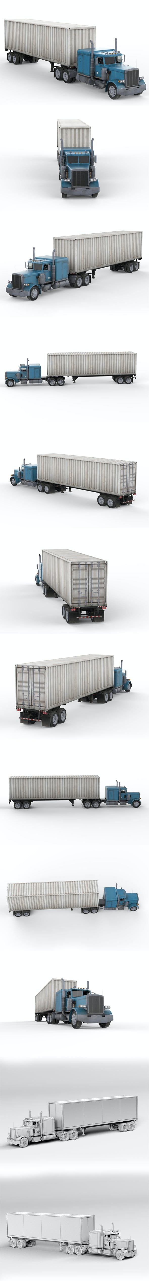 Truck with Semi-Trailer - 3DOcean Item for Sale