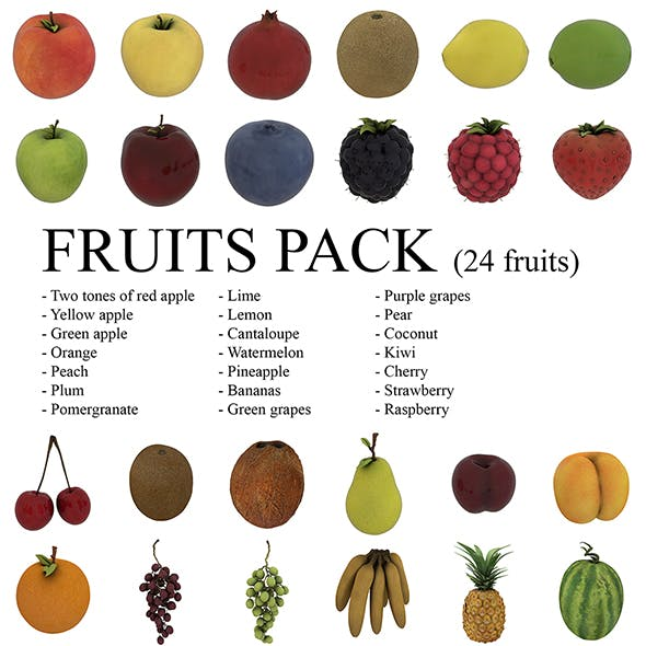 Fruits Pack - 24 fruits - 3DOcean Item for Sale