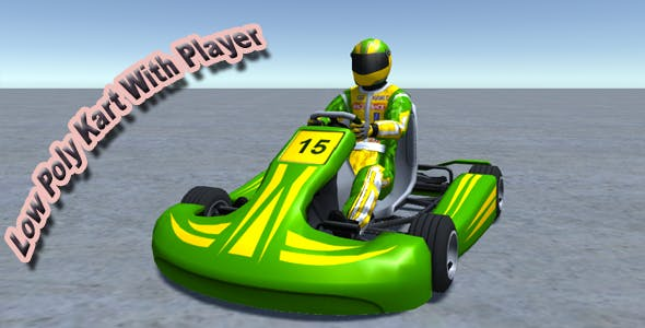 Low Poly Kart With Player 4 - 3DOcean Item for Sale
