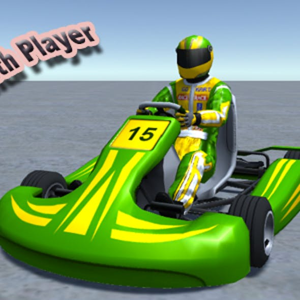 Low Poly Kart With Player 4