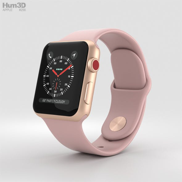 Apple Watch Series 3 38mm GPS + Cellular Gold Aluminum Case Pink Sand Sport Band - 3DOcean Item for Sale