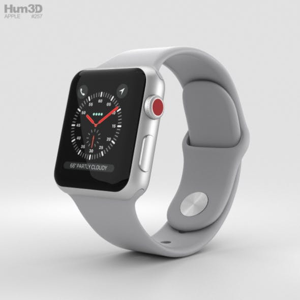 Apple Watch Series 3 38mm GPS + Cellular Silver Aluminum Case Fog Sport Band