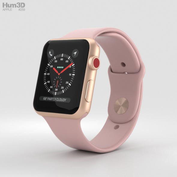 Apple Watch Series 3 42mm GPS + Cellular Gold Aluminum Case Pink Sand Sport Band - 3DOcean Item for Sale