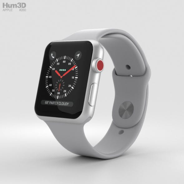 Apple Watch Series 3 42mm GPS + Cellular Silver Aluminum Case Fog Sport Band