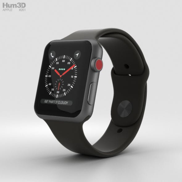 Apple Watch Series 3 42mm GPS + Cellular Space Gray Aluminum Case Black Sport Band - 3DOcean Item for Sale