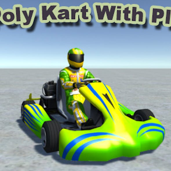 Low Poly Kart With Player 7