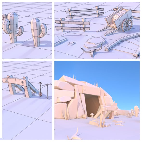 Low poly Wild West mine