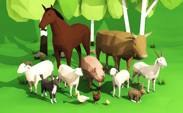 Domestic animals pack lowpoly - 3DOcean Item for Sale