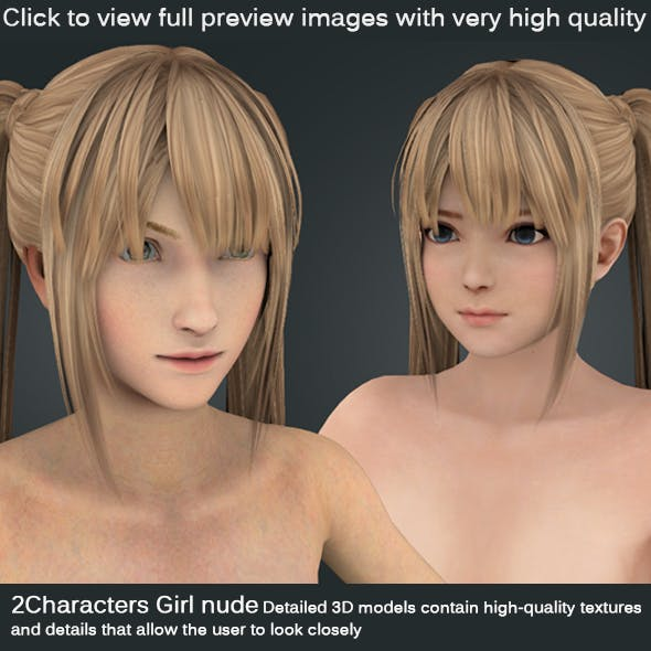 2 Characters Girl [ nude Body ] - 3DOcean Item for Sale