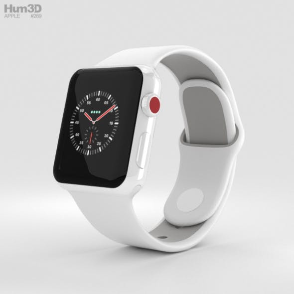 Apple Watch Edition Series 3 38mm GPS White Ceramic Case Soft White/Pebble Sport Band - 3DOcean Item for Sale