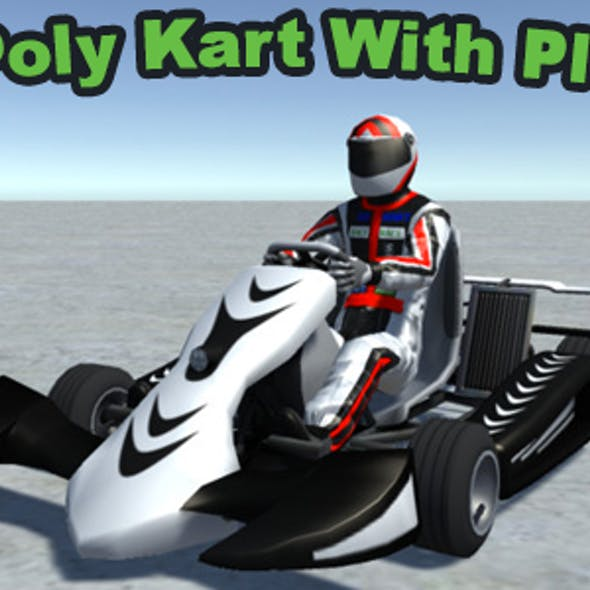 Low Poly Kart With Player 12