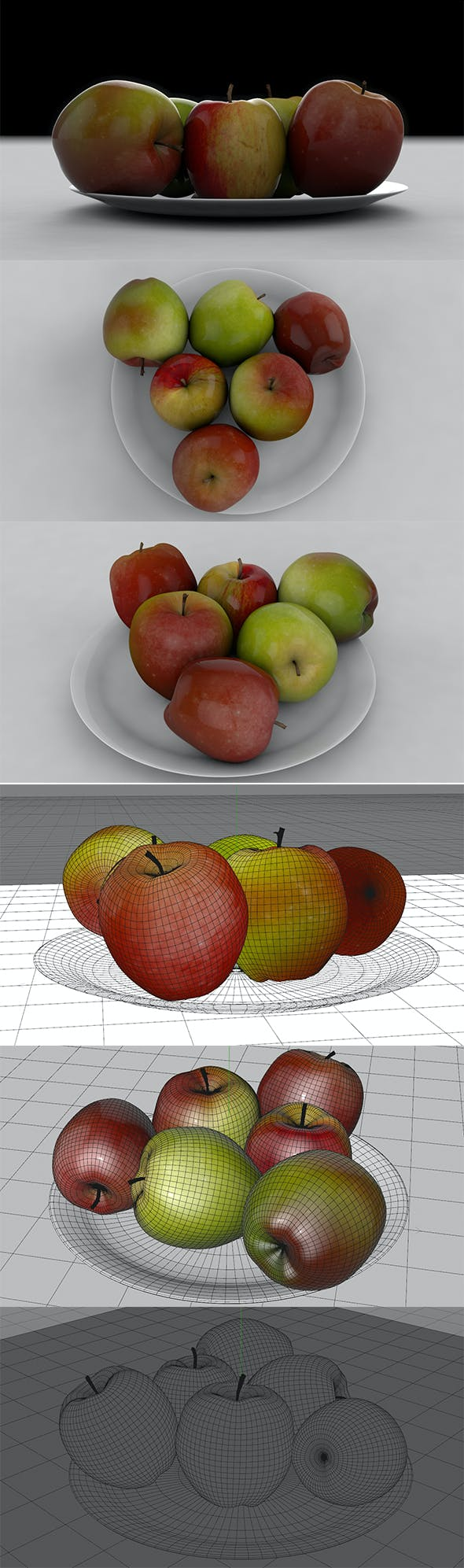 3D Green & Red Apple - 3DOcean Item for Sale