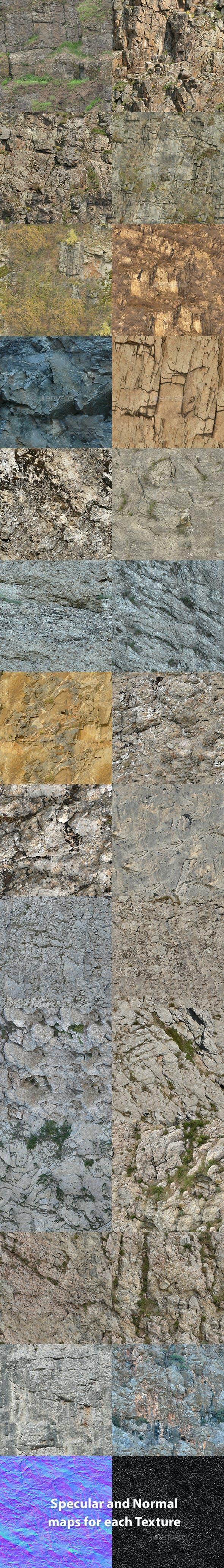 Set of 26 Seamless Cliffs Textures Volume 3 - 3DOcean Item for Sale