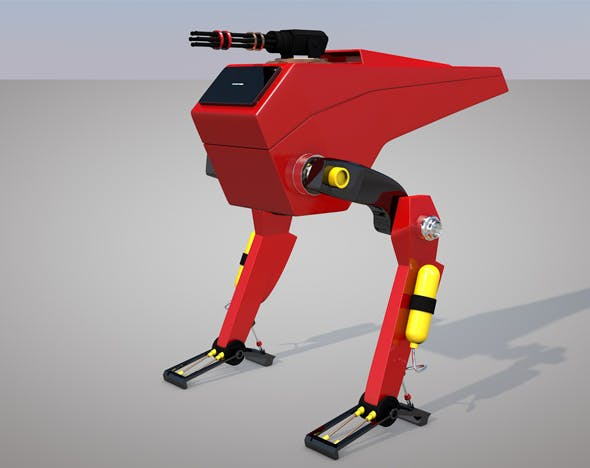 Science Fiction Two Leg Assault Mech Robot Drone 3D Model - 3DOcean Item for Sale