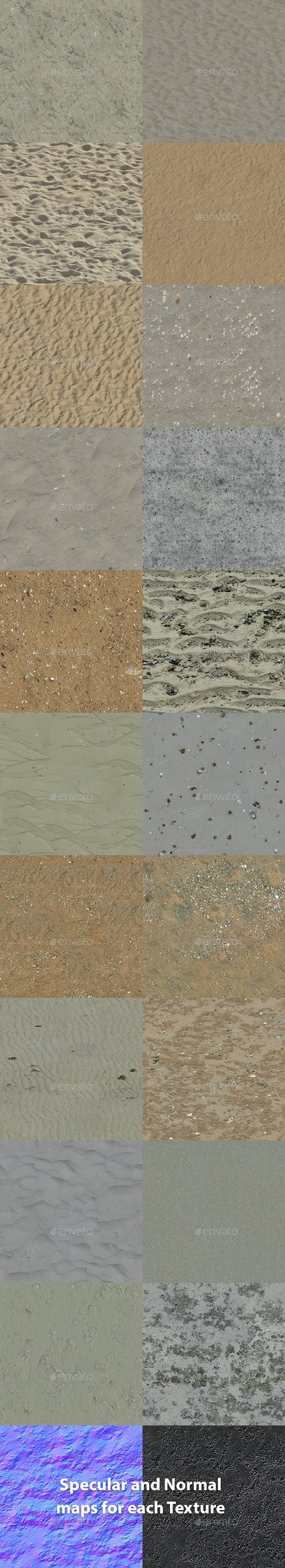 Set of 20 Various Sand Textures Volume 1 - 3DOcean Item for Sale