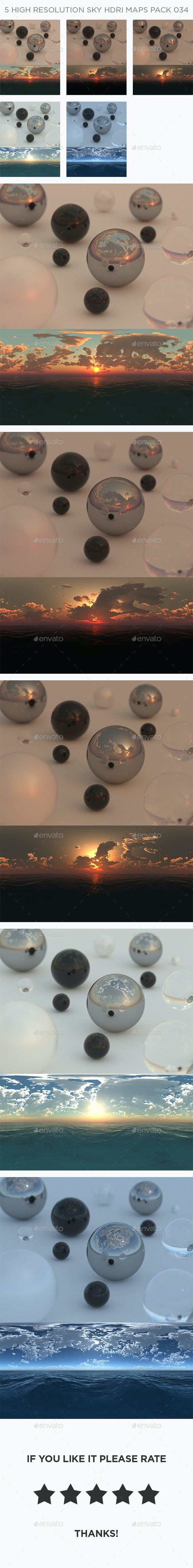 5 High Resolution Sky HDRi Maps Pack 034 - 3DOcean Item for Sale