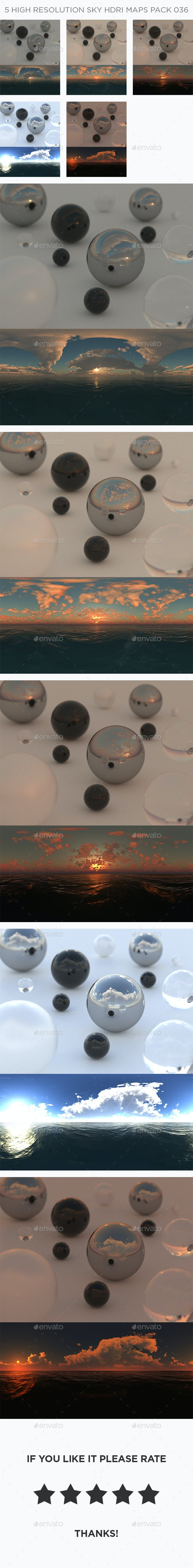 5 High Resolution Sky HDRi Maps Pack 036 - 3DOcean Item for Sale