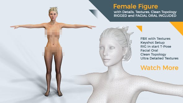 Female figure rigged 3D model with textures material facial oral | Ultra Quality - 3DOcean Item for Sale