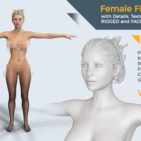 Female figure rigged 3D model with textures material facial oral | Ultra Quality