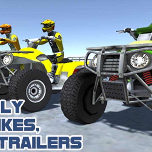Low Poly Quad Bikes With Riders & Trailers