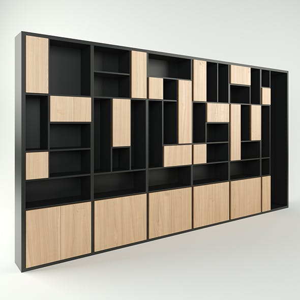 Modern wide 6-section cabinet bookcase - 3DOcean Item for Sale
