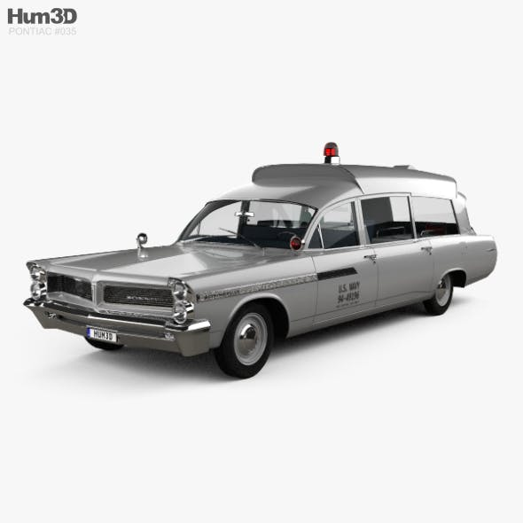 Pontiac Bonneville Station Wagon Ambulance Kennedy with HQ interior 1963 - 3DOcean Item for Sale