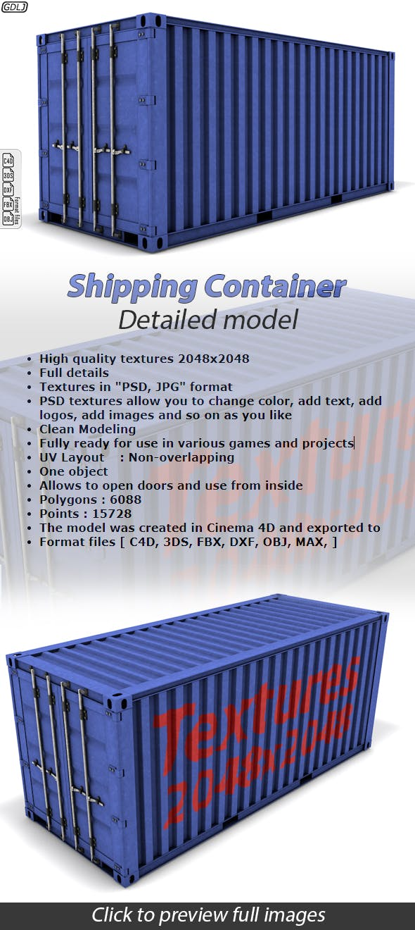 Shipping Container Detailed Model - 3DOcean Item for Sale