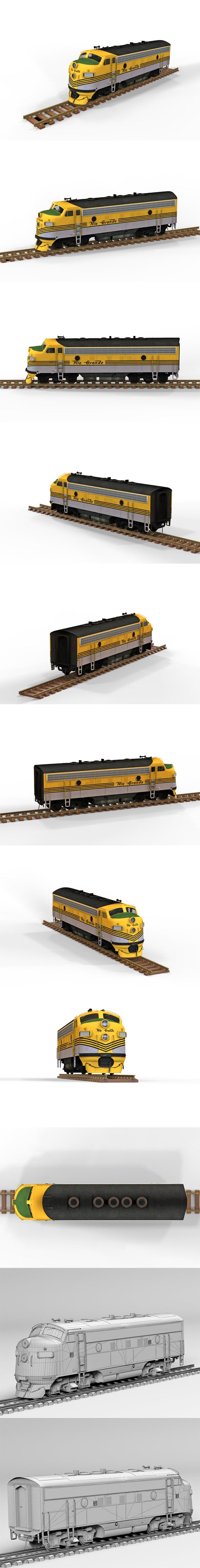 Diesel Locomotive - 3DOcean Item for Sale