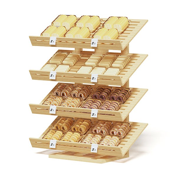 Market Shelf 3D Model - Bakery Products